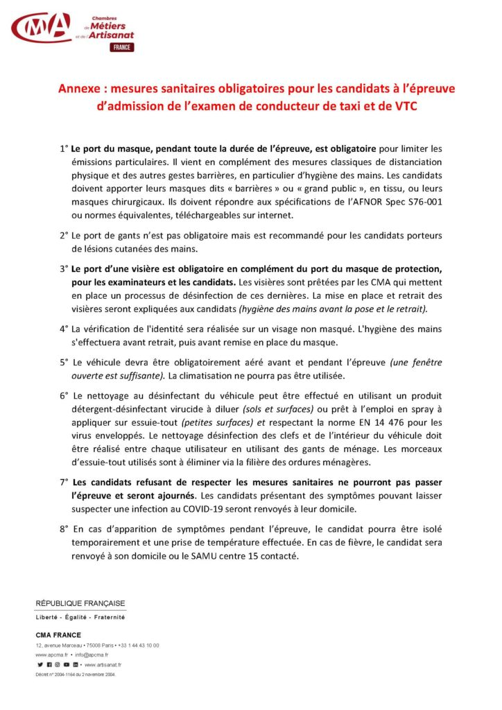 reglement d'admission de taxi post confinement document CMA FRANCE
