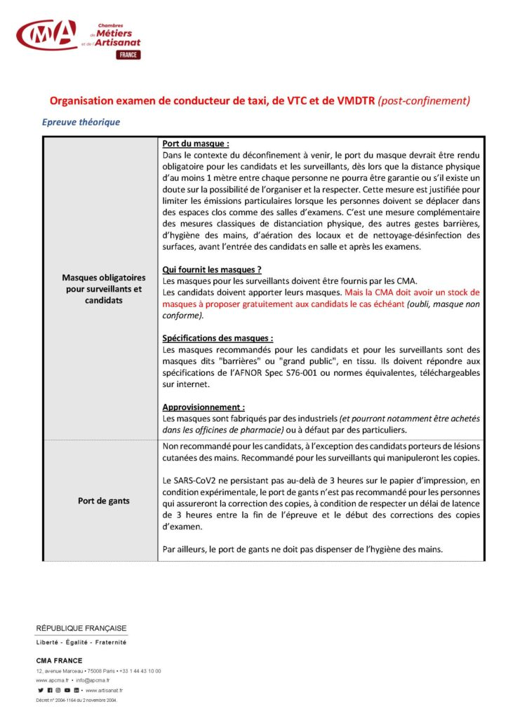 document de la CMA FRANCE pour l'Organisation examen de conducteur de taxi, de VTC et de VMDTR (post-confinement)